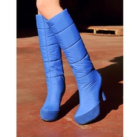 2014 winter Fashion winter snow boot woman Knee-high shoes Down boots high heels shoes sexy warm long boots 09255