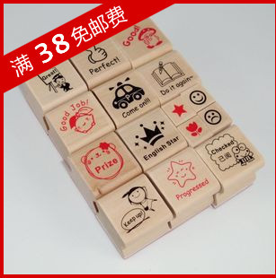 15pcs [ Special ] full shipping South Korea stationery teacher / English encourage small wooden stamp teaching supplies reviews(China (Mainland))