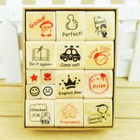 15pcs Special Award to Free shipping Wooden Stamp Seal Cartoon Kindergarten Nurse School Teacher Reviews