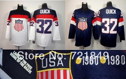 Free Shipping,Discoun Ice Hockey jerseys USA Los Angeles(LA) Kings #32 Jonathan Quick white dark blue Best Quality(China (Mainland))