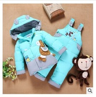 children Down jacket coat new winter children down jacket suits boy girl baby clothing set  children warm winter set