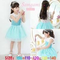 2014 New Summer Frozen Dress Princess Girls Dresses Fashion Sequined Lace Girls Dress Elsa Dress 5 pieces / lot 1213