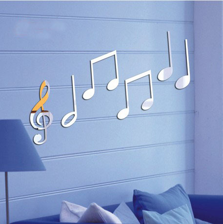 Beat notes fashion background mirror wall stickers DIY bedroom wall stickers free combination desk decoration stickers(China (Mainland))