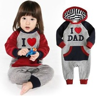 2014 New Style I love mom I love dad long sleeve hooded romper baby climb clothes jumpsuits free shipping