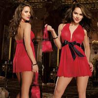 New Hot Sexy Lingerie Hot Women's Erotic Underwear Bow set Black Red Blue Plus Size Sleepwear Night Club Dresses