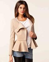 2014 New Coat Fashion Ruffles Jackets Women Long Sleeve Slim Zip Up Coats Waisted Thin Cardigans C8022