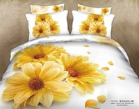 NEW Beautiful 4PC 100% Cotton Comforter Duvet Doona Cover Sets FULL / QUEEN / KING SIZE bedding set 4pc colorful yellow daisy
