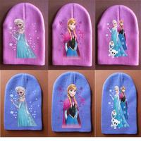 Wholesale Winter Hat Child Girls Beanie Knited Beanies for Children Elsa Hat 6 Designs Baby Girls Hat Caps