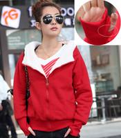 Hoodies Women 2014 New Winter Fleeces Cardigans Female Thicken Hooded Hoody Casual Gloves Coats HO8040