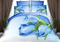 NEW Beautiful 4PC 100% Cotton Comforter Duvet Doona Cover Sets FULL / QUEEN / KING SIZE bedding set 4pcs blue white tulip flower
