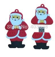 Xmas 4GB 8GB 16GB 32GB Santa Claus USB Flash Drive Father Christmas Shape Pen Drive USB Stick Thumb Drive Red Color USB Memory
