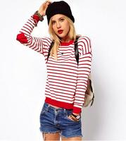 Qiu dong season the new dress Fashion sets joker stripe peach heart patch knit sweater