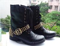 Pani nowe buty klasyczne czarne buty  STV motocykl stylu, kod EU35-43 Women Leather  boots motorcycle Stiv Med  rivet SM boots