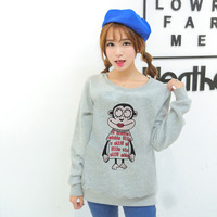 [Alice]2014 autumn new sweatshirts cartoon monkey printing fleece inside good quality women's hoodies free shipping