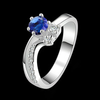 2014 New Arrival!925 Sterling silver Romantic Blue crystal women wedding ring,Wholesale fashion jewelry R384