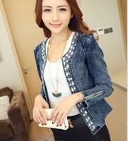 Stretch denim jeans vintage rhinestone sequined long-sleeved denim shirt jacket