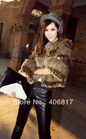 2014 Newest Fashion Women Clothing Leopard fur poncho Clothes for Lady Slim Winter Warm thick Fashion Short Coats Overcoat