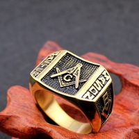 18k Gold Plated Free Mason Letter Rings For Man Stainless Steel Freemason Masonic Ring Wholesale Price