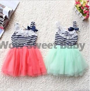 2014 summer dress fashion new baby kids girls ball gown dress lace + cotton material vestidos de menina3 colors age 0-2 frozen(China (Mainland))