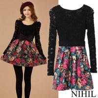 Patchwork Bow Sashes Long Sleeve Print Dresses Women Lace Dress 2014 O-Neck A-line Black Short Vintage Casual Winter Dress 887