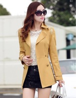 2014 Autumn And Winter Short Trench Slim Double Breasted Turn-Down Collar Lace Patchwork Female Trench Outerwear Plus Size Coat