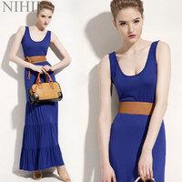 Patchwork Blue Chiffon Lace Dress Women Summer Dress 2014 Casual Loose Plus Size Women Clothing High Street Dresses 753