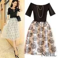 New 2014  Fashion Summer Casual Dress Spring Mid-Calf Long Print Party Dresses Short Sleeve Plus Size Tulle Clothing 515