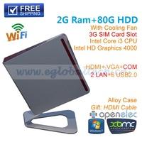 Intel Core I3 3217U 2G Ram 80G HDD Mini Car PC Micro Desktop Ultra Nettop Support 3G Wifi Bluetooth VGA+HDMI 2 Screen Display