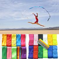 Wholesale 5pcs/lot 4M Gym Dance Ribbon Rhythmic Art Gymnastic Streamer Twirling Rod Stick 11 Colors
