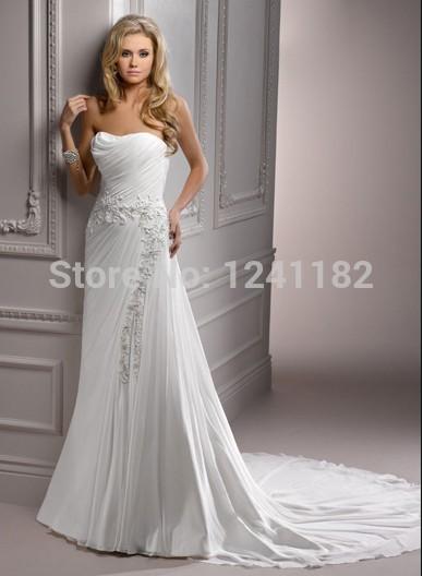 2015 New40-1Ivory Grecian Draping Chiffon Strapless Floral Embroidered Jordan Wedding Dress(China (Mainland))