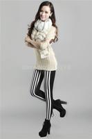 Free Shipping 2014 Autumn Winter Vertical Striped Black  Women pants Leggings pantyhose