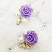 Top Selling 18K Gold Plated Cute Sweet Rose Shaped Artificial Pearl Stud Earrings for Women Ladies Girls Pink