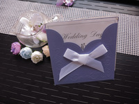 Free shipping Wedding Invitations cards  with white ribbon 100Cards+ 100 Envelopes + 100 Seals,wedding accessory purple card