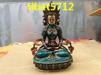 collect item Tibetan Buddhist bronze coated nice face looking long life buddha AMITAYUS Buddha statue 20 cm free shipping