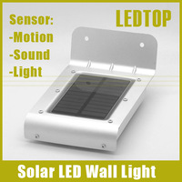 2014 New Arrival IP64 Motion/ Sound/ Ray 3 in 1 sensor 16 SMD LED Solar Powered Outdoor Garden Lamp Waterproof Wall Light