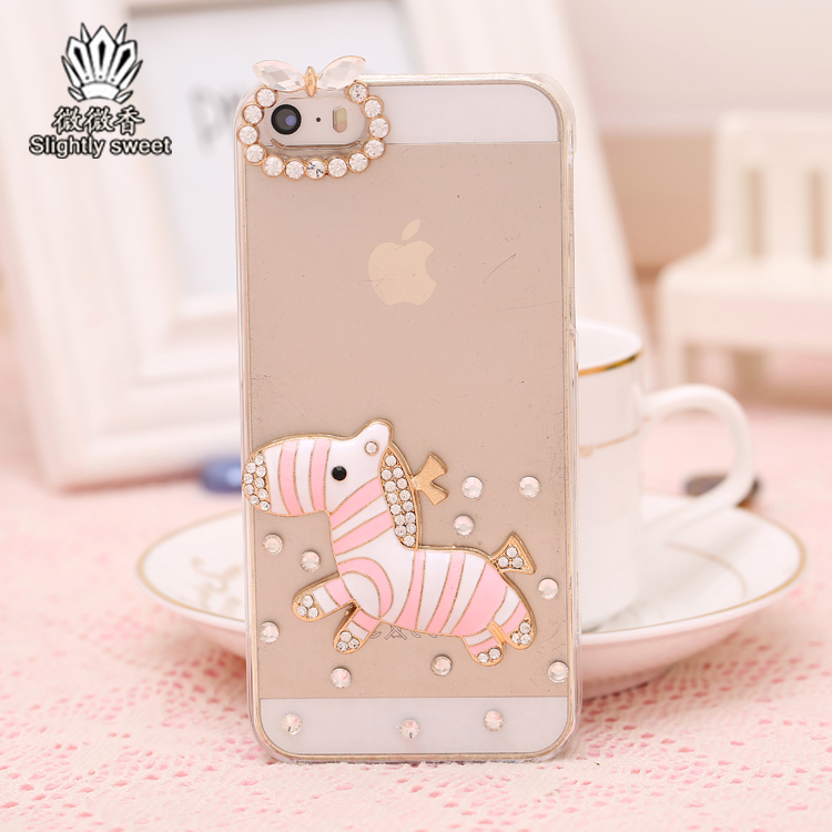 Slightly Sweet Rhinestone bling cute small Zebra cover for iPhone 4 4s case for iPhone 5 5s case cell phones Hard Back Skin(China (Mainland))