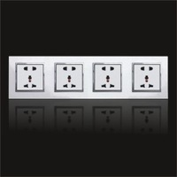 hot sell Wall Mount Power  switch & Socket  feichi series 4gang 5pin+5pin+5pin+5pin panel  for home hotel use new design
