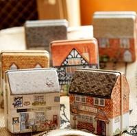 zakka Luck shop House Tin Box Crafts Candy Jar Food Sundries Iron Storage Box Home Decoration Gift  6pcs/set
