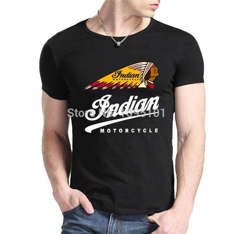 Indian Motorcycle Logo t shirt men's fashion TEE High quality DIY Custom Shirts 100% Cotton t-shirt Free Shipping(China (Mainland))