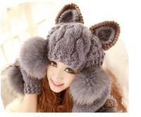 Faux Fur Ball Wool Hat Cap Super Cute Winter Warm Korean Women Devil horns Cat Ear Knit Ski Beanie