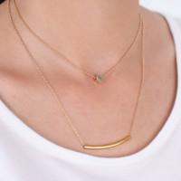 Gold Layered Celebrity Curved Sideway Bar Heart Pendant Necklace Shiny Tiny