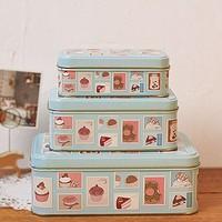 zakka Snack Candy Cookie Jar Tin Box Food Sundries Iron Storage Box Home Decoration Gift 3pcs/set