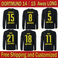 Thai Quality Camisetas 14/15 Borussia Dortmund BVB Away Black Longsleeved Dortmund 2015 soccer Jersey 11 Rues Football Shirt