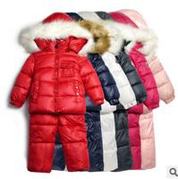 Russia Boy And Girl Windproof Warm Coats Children Winter Clothing Set Jackets+Suspenders Trousers Kids Ski Suit Sets ILTZ5005