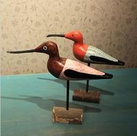 Circular Engravure Seabird Love bird 2pcs/set Zakka Hand Made Wood Crafts Coloured Drawing Home Decoration Gift Props