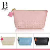 Small Pu Fresh lovely Dot&Tassel Cosmetic Bags Lady Trapezoid Casual Bag Organizador 4 colors Two sizes Free Shipping