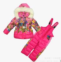Children's Winter Clothing Set baby girl Ski Suit Windproof Print Warm Coats Fur Jackets+Bib Pants girls sports suit ILTZ5002