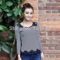 Fall 2014 new women's clothing slim fit slim t shirt plus size long sleeve bottoming shirt sleeve t-shirt S/M/L/XL 8002