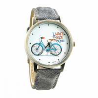 """10pcs/lot Men's army watch """"I want to ride my bicycle"""" unisex quartz wristwatches sports leather watch band free shipping"""