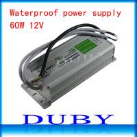 15piece/lot 12V 5A 60W Waterproof LED Driver Power Supply Outdoor AC90V-240V Input,12V Output Free fedex